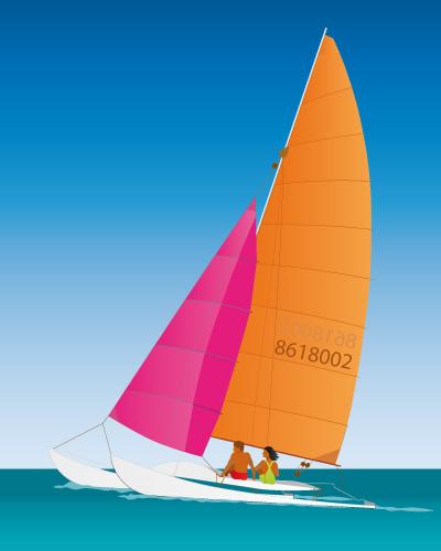 free vector Catamaran Sailing