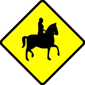 free vector Caution Horse Ridder Crossing clip art