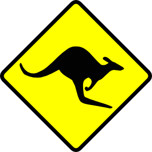 free vector Caution Kangaroo clip art