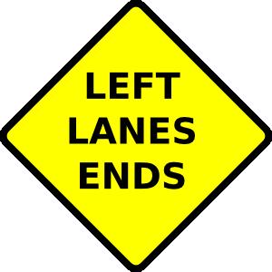free vector Caution Left Lane Ends clip art