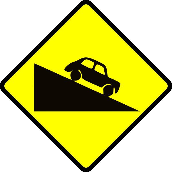 free vector Caution Steep Hill clip art