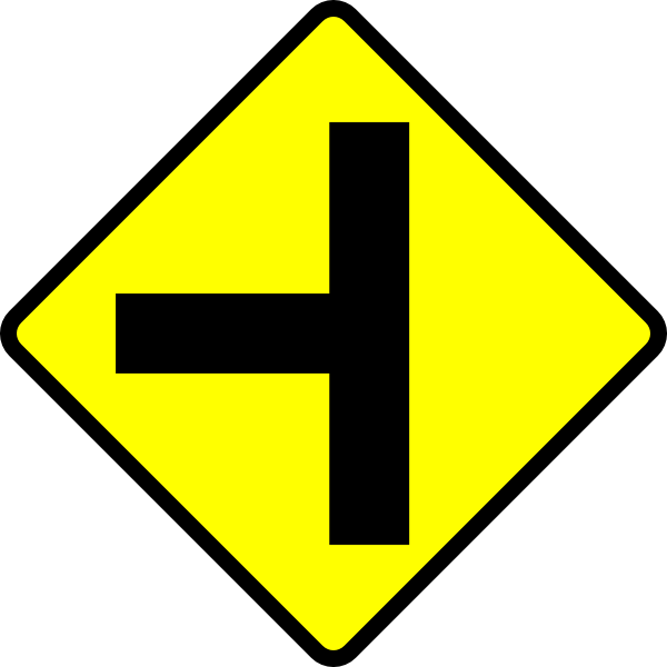 free vector Caution T Junction Road Sign clip art