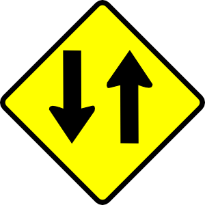 free vector Caution Two Way Street clip art