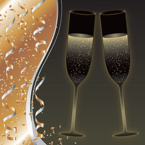 free vector Champagne and goblets vector