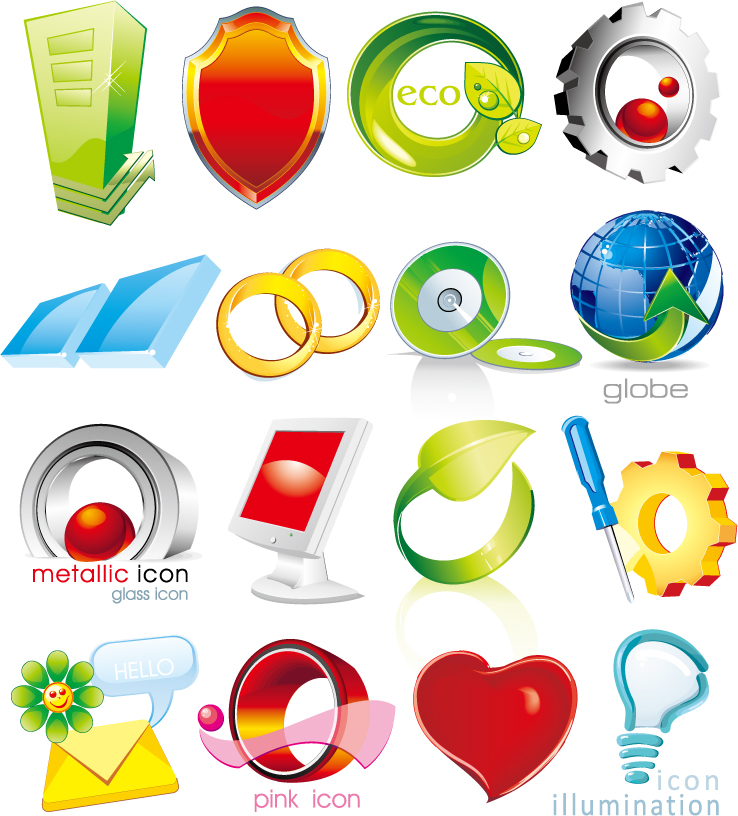 free vector Chassis, leaves, beads, gear, tools, light bulbs vector
