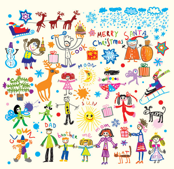 free vector Cheerful children clip art illustrations