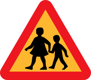 free vector Child And Parent Crossing Road Sign clip art