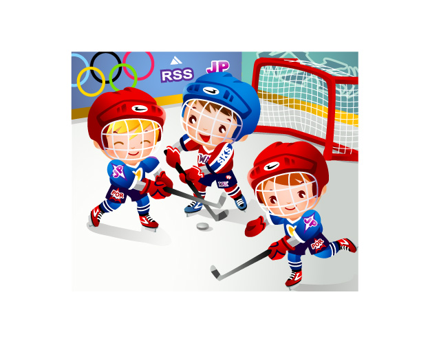 free vector Children clip art hockey