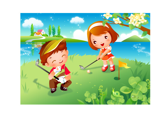 free vector Children clip art of golf