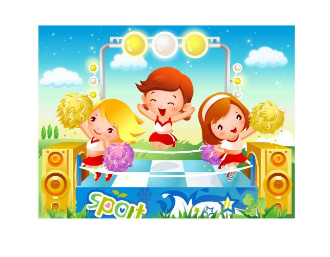free vector Children dancing motion vector