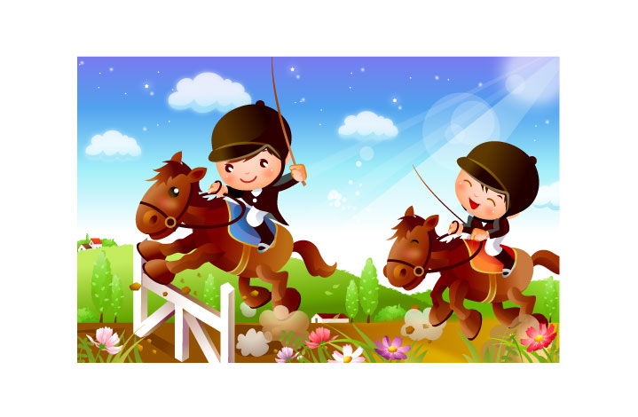 free vector Children riding motion vector