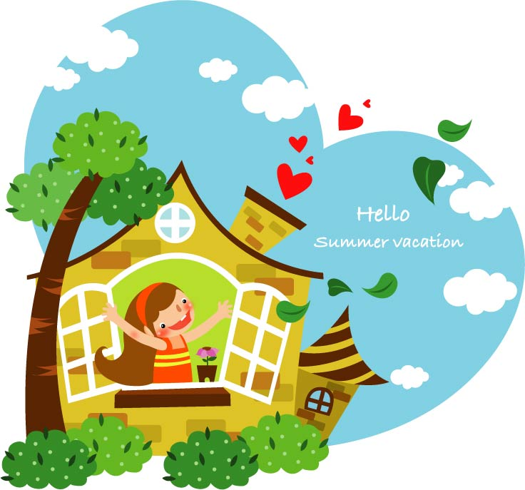free vector Children summer vacation vector 2