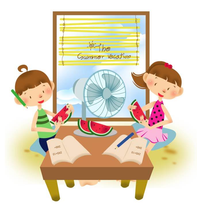 free vector Children summer vector 1