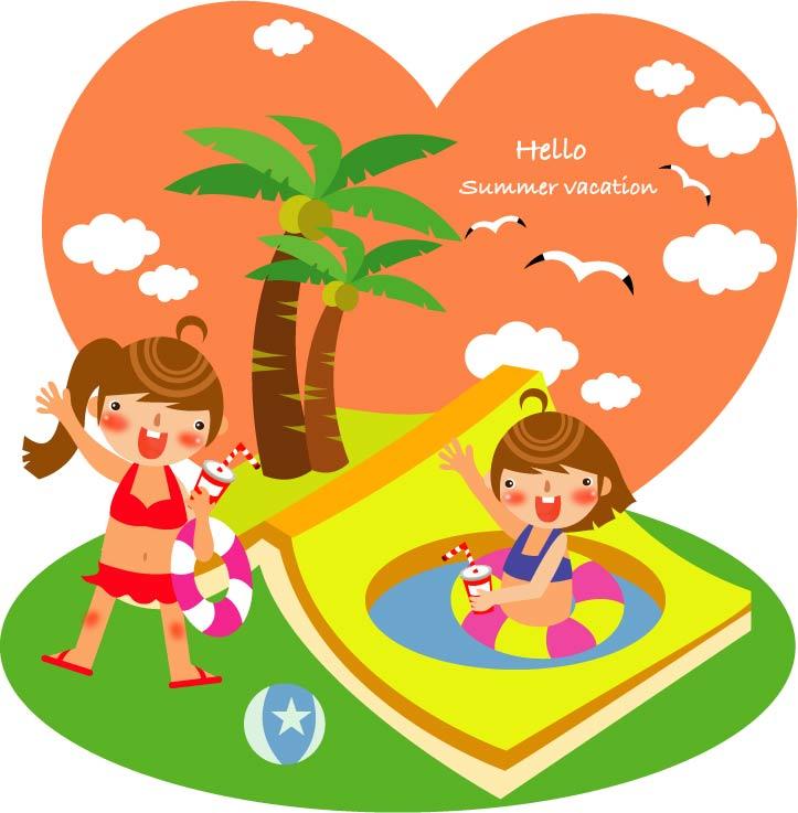 free vector Children summer vector 4