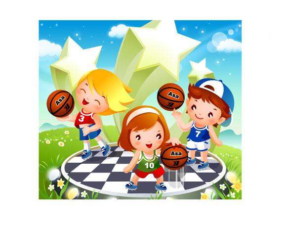 free vector Children vector basketball tricks