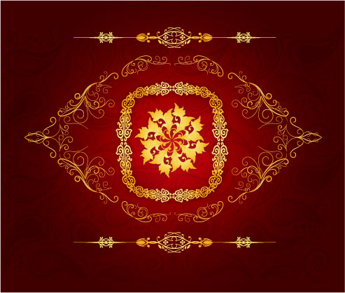 free vector Chinese gold gorgeous patterns