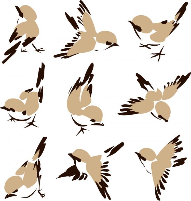 free vector Chinese painting bird 01 vector