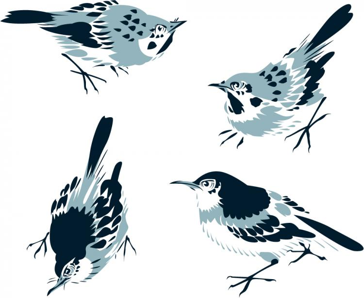 free vector Chinese painting bird 02 vector
