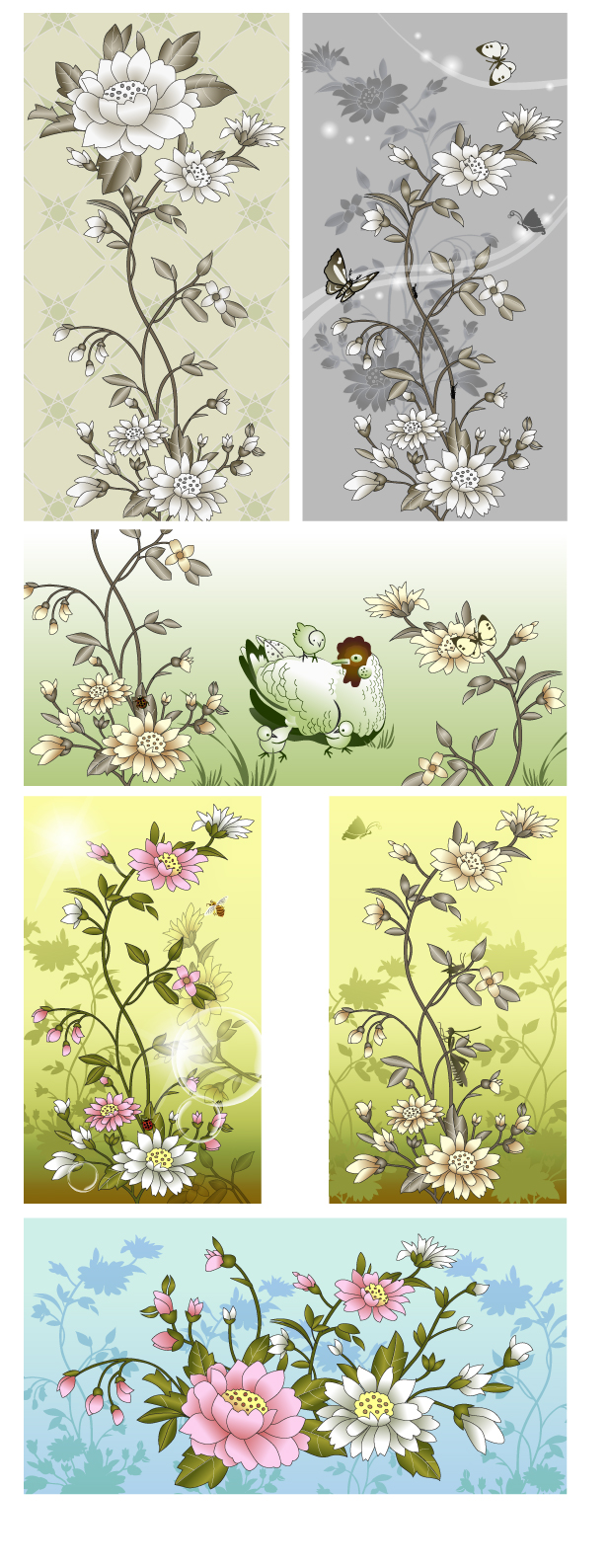 free vector Chinese style flower insect vector