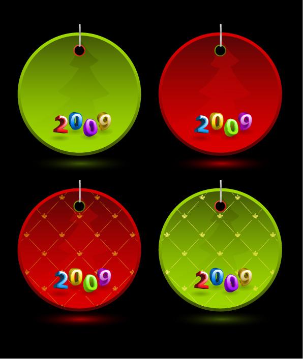 free vector Christmas 2009 Vector tag material
