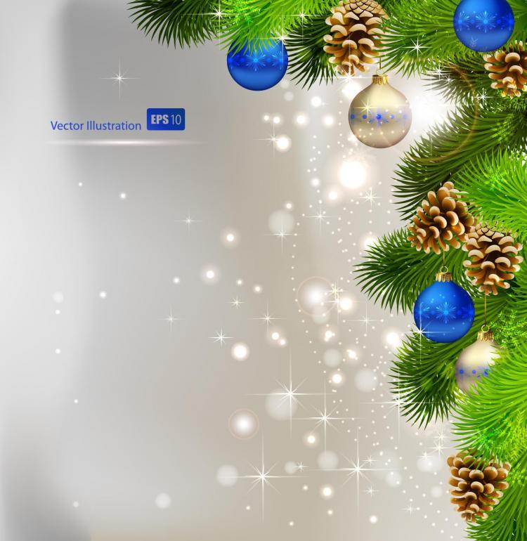 Christmas background ball beautiful 01 vector Free Vector / 4Vector