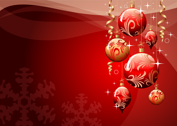 Christmas ball background vector Free Vector / 4Vector