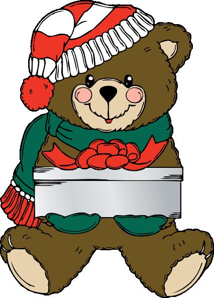 free vector Christmas Bear Wih Present clip art
