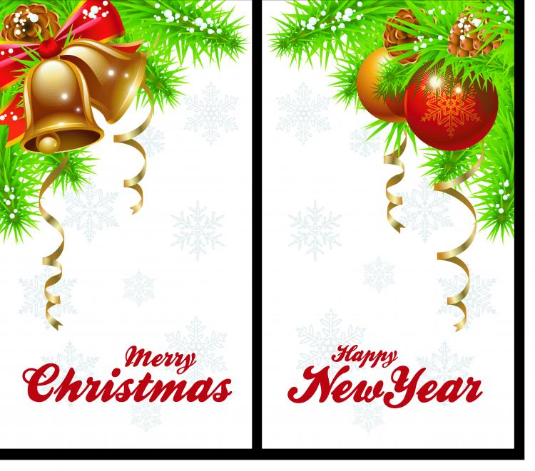 free vector Christmas bells and beautiful hanging ball vector