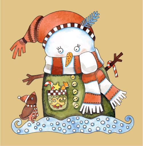 free vector Christmas cartoon illustration 02 vector