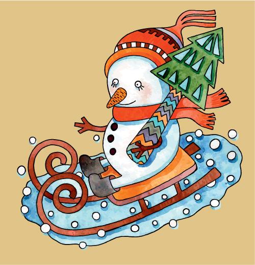 free vector Christmas cartoon illustration 03 vector