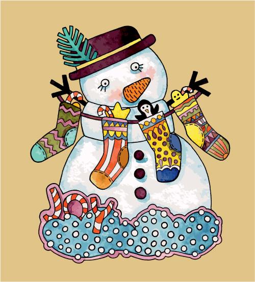 free vector Christmas cartoon illustration 04 vector