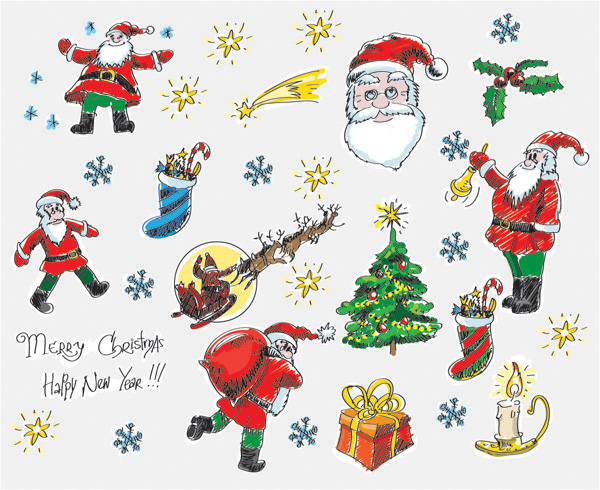 free vector Christmas cartoon style handdrawn elements of vector