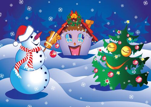 Christmas cartoon vector Free Vector / 4Vector