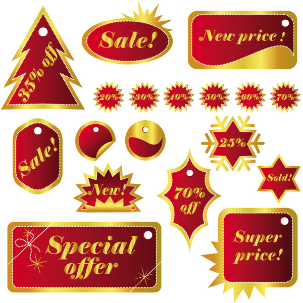 free vector Christmas celebration labels