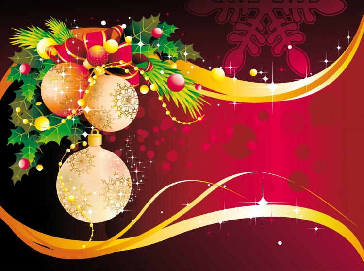 Christmas decoration background vector free vector 4vector for Background decoration