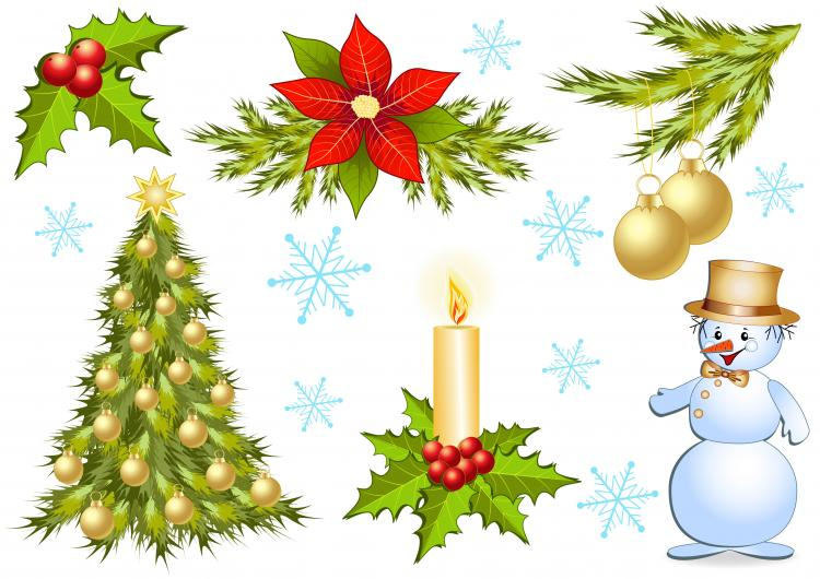 Christmas decorations 1 vector free vector 4vector for Xmas decoration images