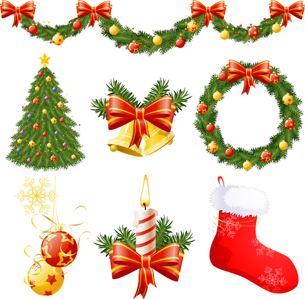 Christmas decorations vector Free Vector / 4Vector