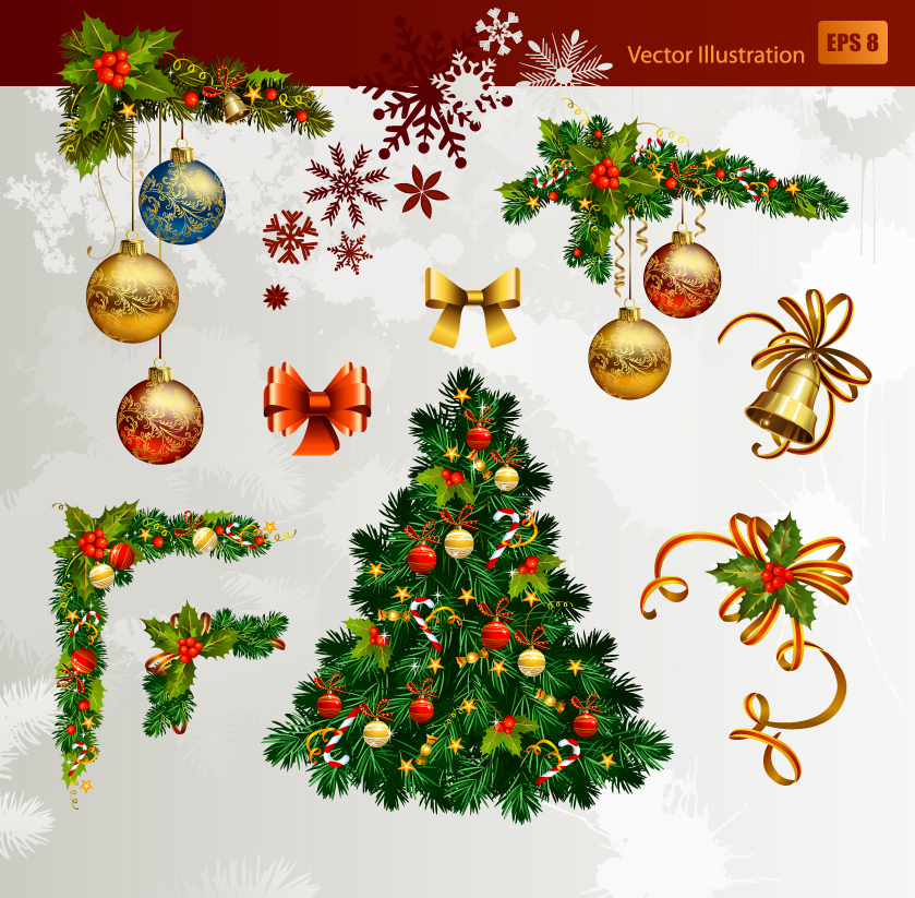 free vector Christmas decorative elements 01 vector