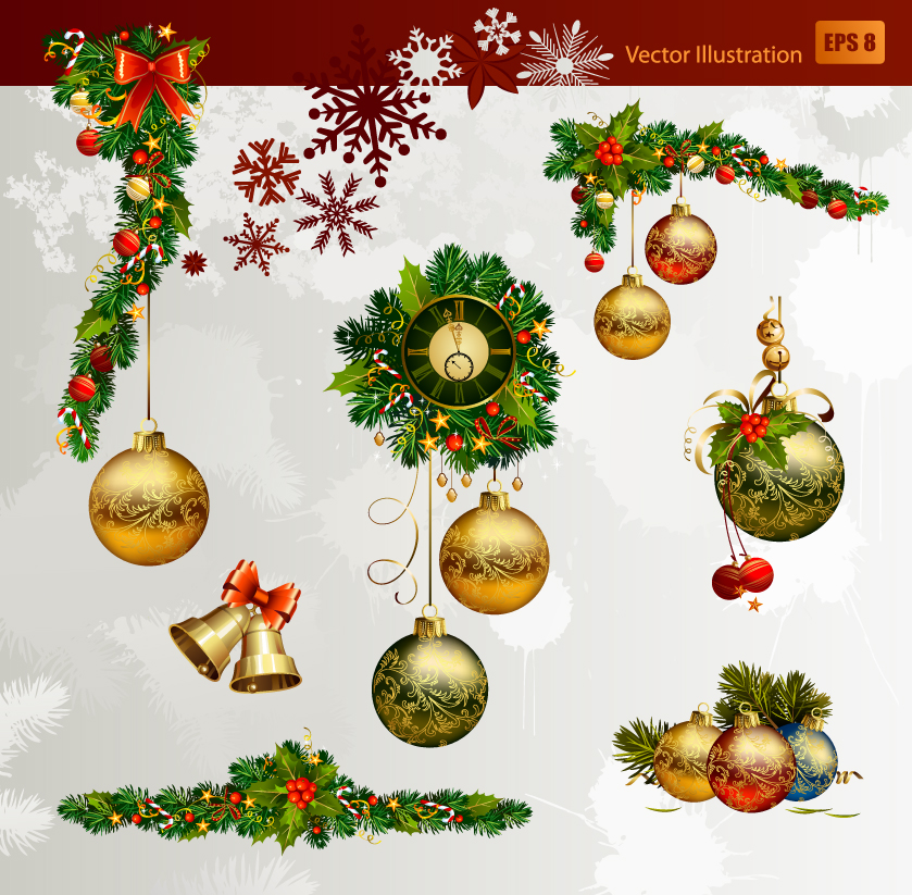 free vector Christmas decorative elements 02 vector