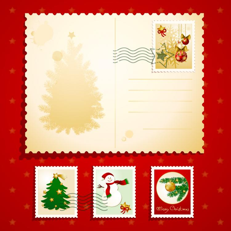 free vector Christmas elements stamp 02 vector