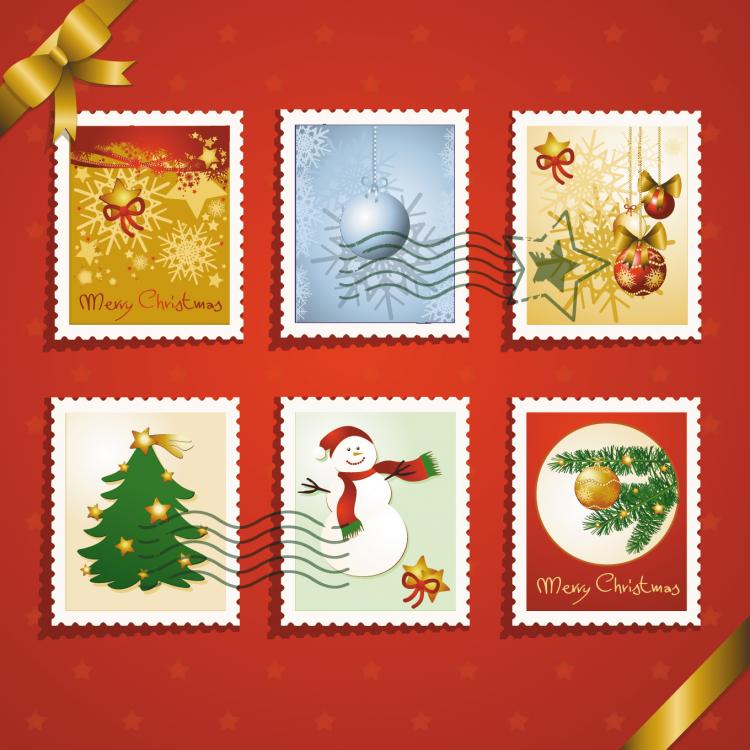 free vector Christmas elements stamp 03 vector