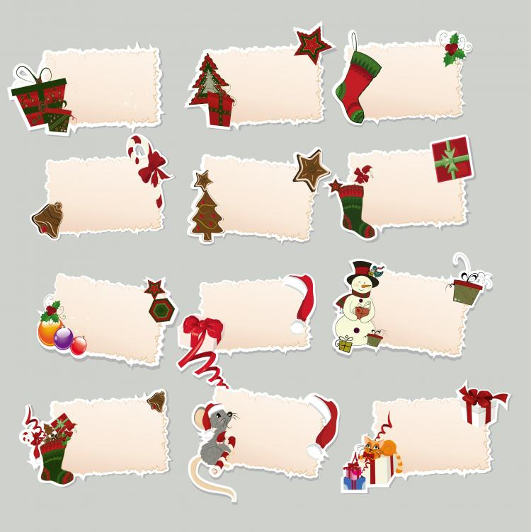 Free christmas vectors download christmas vector images and art free - Christmas Elements Stickers 02 Vector Eps 306 Free
