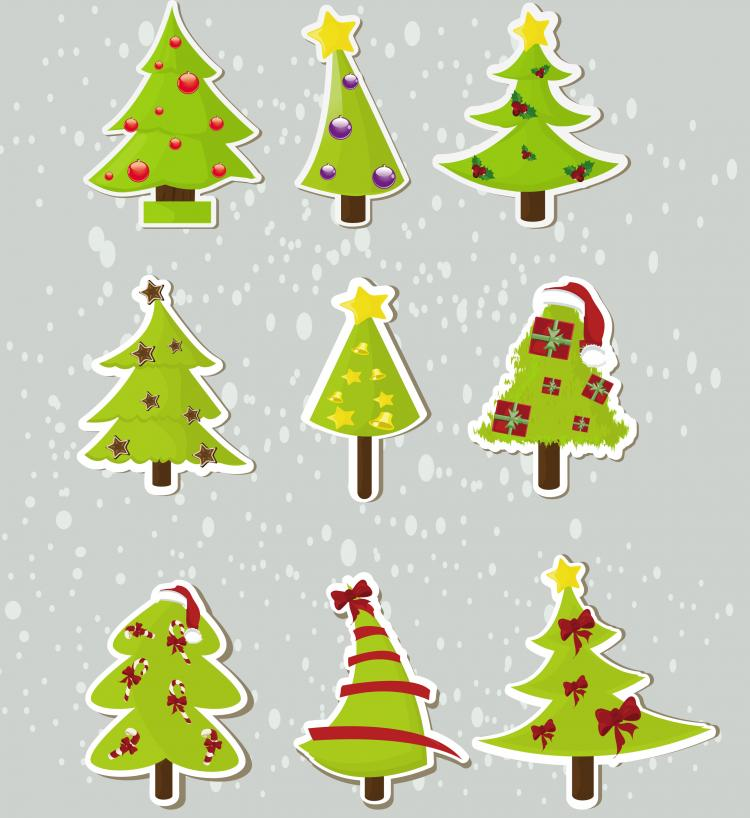 free vector Christmas elements stickers 04 vector