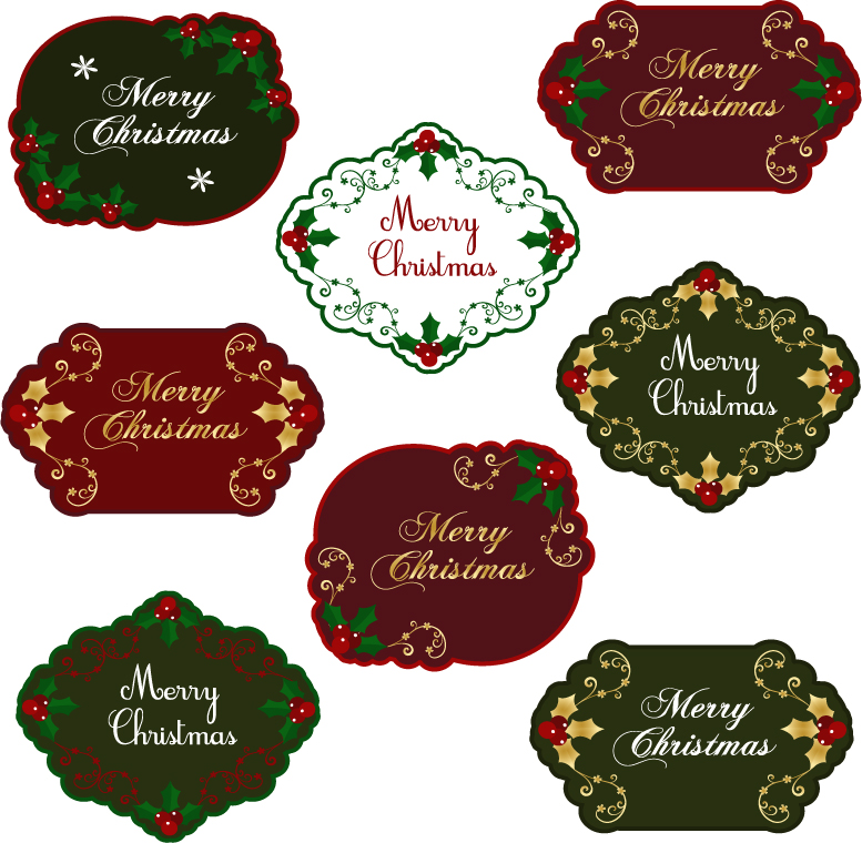 free vector Christmas exquisite label 02 vector