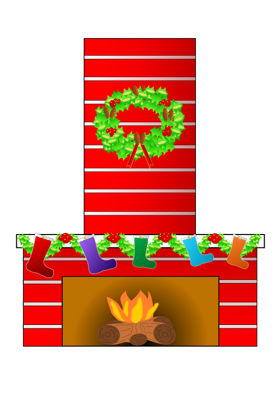 free vector Christmas fire place