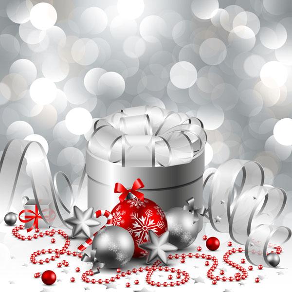free vector Christmas gift box with ball vector