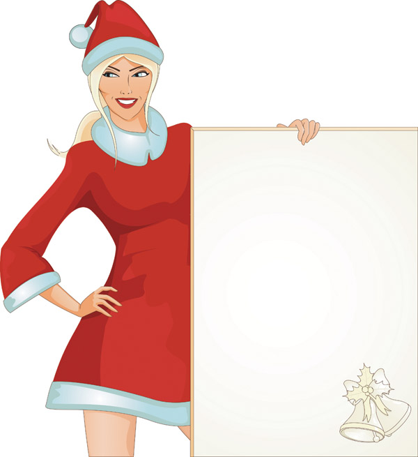 free vector Christmas girl vector