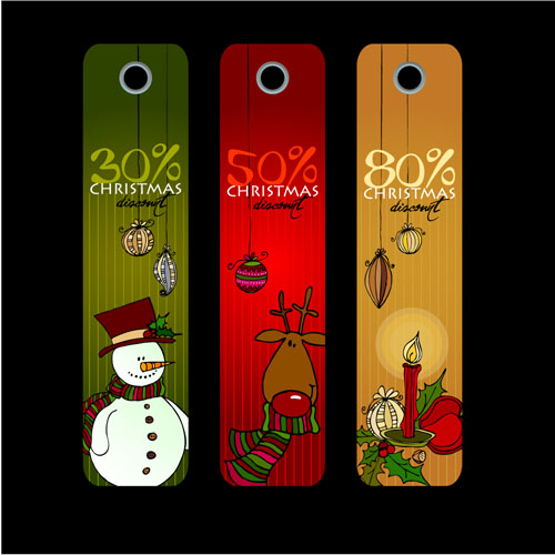 free vector Christmas label vertical banner and posters vector
