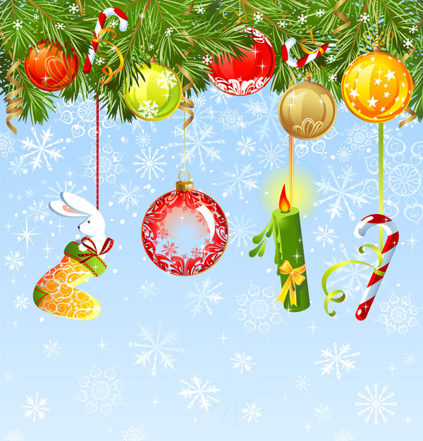 free vector Christmas ornaments and background vector