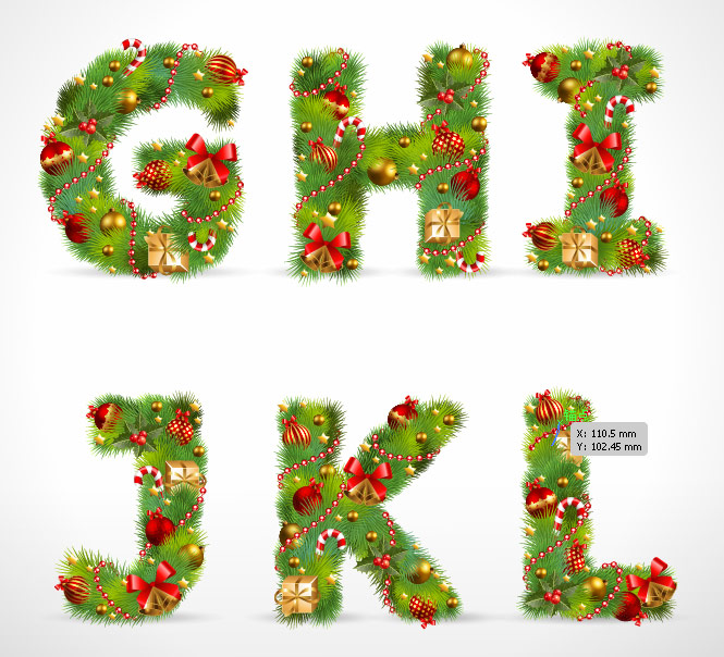 free vector Christmas ornaments composed of letters 02 vector